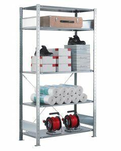 Fachbodenregal Stecksystem, Grundregal, einseitig nutzbar, H1800xB750xT300, 4 Fachböden, Fachlast 85kg, sendzimirverzinkt