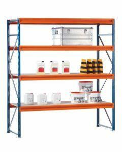 Weitspannregal W 100, Grundfeld mit Spanplatten,  H3000xB2140xT1200 mm, blau / orange / verzinkt