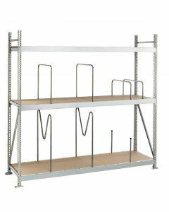 Weitspannregal WS 3000, Grundfeld mit Spanplatten,  Höhe 2500 mm, Breite 1500 mm, 4 Ebenen, verzinkt