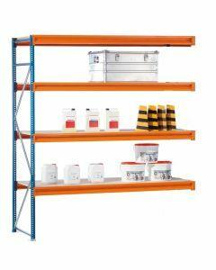 Weitspannregal W 100, Anbaufeld mit Spanplatten,  H3000xB1785xT600 mm, blau / orange / verzinkt