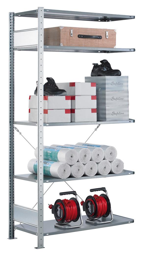 Fachbodenregal Stecksystem, Anbauregal, einseitig nutzbar, H1800xB1000xT300, 4 Fachböden, Fachlast 85kg, sendzimirverzinkt